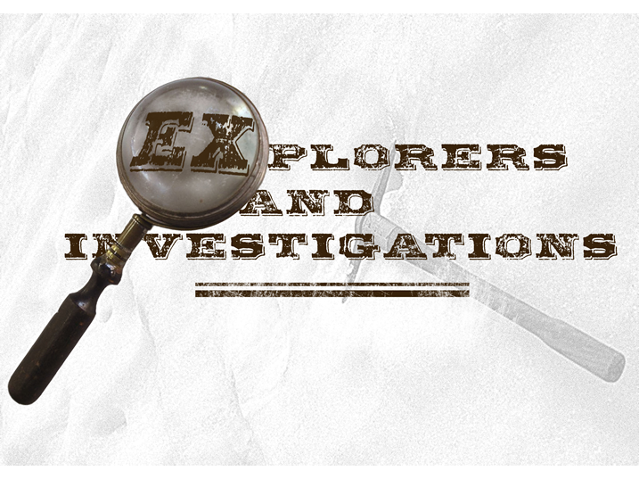 Title slide with the text Explorers and Investigations. The first two letters of explorers appear enlarged through the lens of a magnifying glass.