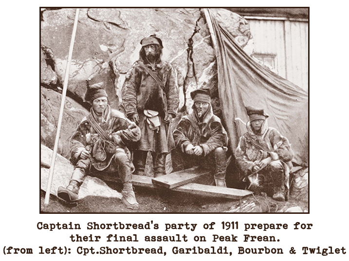 Black and white photograph of a group of four men dressed akin to stereotypical pirates.  Captioned: Captain Shortbread's party of 1911 prepare for their final assault on Peak Frean. (from left): Captain Shortbread, Garibaldi, Bourbon and Twiglet.