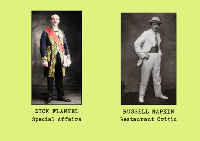Portrait photgraphs of office staff members - Dick Flannel (special affairs) and Russell Napkin (restaurant critic)