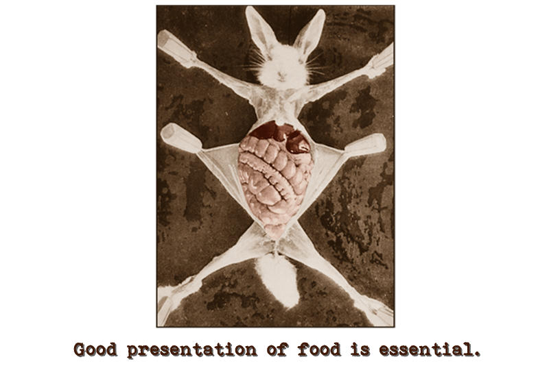Image of a dead rabbit, paws pegged to a board in a spread-eagle fashion, with the skin of its abdomen cut and pulled to either side revealing its intestines and other internal organs.  Caption reads: Good presentation of food is essential.