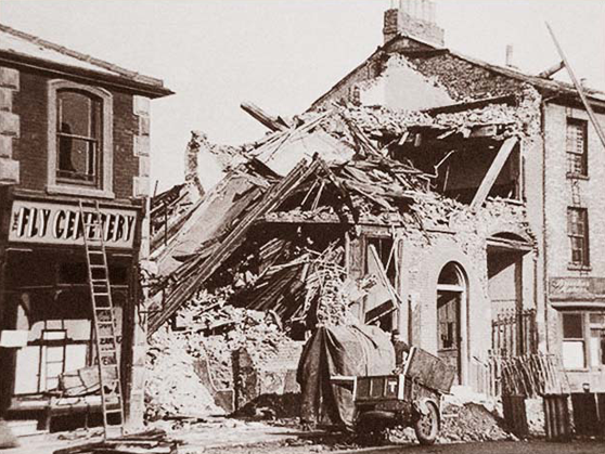 Photograph of bombed out building